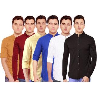 Spain Stylees Men's Multicolor Regular Fit Casual Shirt (Pack Of 6)