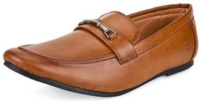 Shoe Daisy Men's Tan Synthetic Slip-On Formal Shoes
