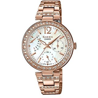 Casio Sheen Analog Mother Of Pearl Dial Womens Watch-She-3043Pg-7Audr (Sh191)