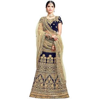 c31ed063a Ashika Women s Navy Blue Embroidered Velvet Semi-Stitched Lehenga Choli  with Dupatta