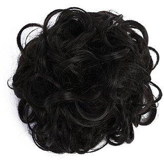 Arya SARLA Synthetic Drawstring Bun Curly Hairpieces Wavy Hair Messy Chignon Bun Updo Hair Bun Extensions Q7(1B# Jet Black)