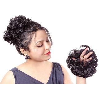 Arya Women curly Hair Bride Bun juda rubber free size Natural Black