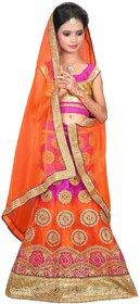 Surupta Orange & Pink  Color Net Embroidered Kids Lehenga Choli Of Size 28     Himani_51710_28
