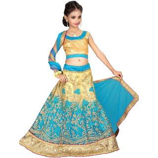 Surupta Sky Blue & Beige  Color Net  Designer Embroidered  Lehenga Choli of 32 Size    Pinky_51729_32
