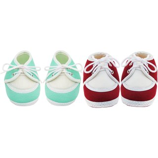 Neska Moda Pack Of 2 Baby Infant Soft Green and Maroon Booties/Shoes For 0 To 12 Months free shipping under $60 cheap limited edition get authentic cheap online cheap sale ebay cheapest price sale online uG30szSaV