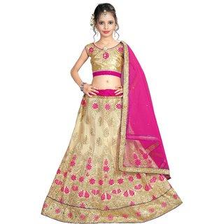 Surupta Beige & Pink Color Net Embroidered Designer Party Wear Lehenga Choli Of Size 38  Salila_51663_38