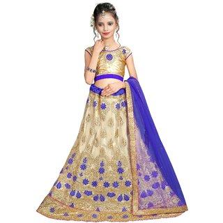 Surupta Beige & Blue Color Net Embroidered Designer Party Wear Lehenga Choli Of Size 38  Salila_51664_38
