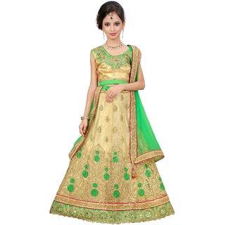 Surupta Beige & Green Color Net Embroidered Designer Circular Lehenga Choli Of Size 40  Radha_51635_40