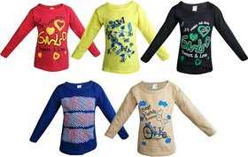 Jisha Fashion Girl'S Full Sleeves Crew Neck T-Shirt (Pack Of 5)