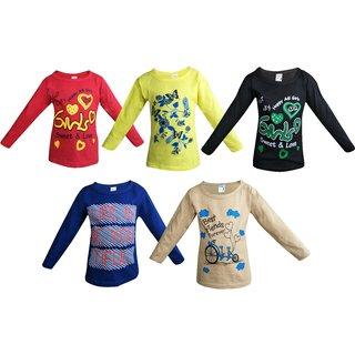 Jisha Fashion Girl'S Full Sleeves Crew Neck T-Shirt (Pack Of 5)
