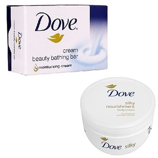 combo of dove soap (100GMS)+dove silky nourishment body cream(150ML)