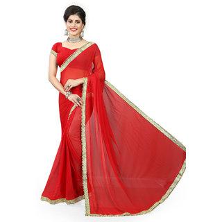 Gaurangi Creation Red Pure Chiffon border embellished saree with blouse