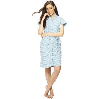 Vixenwrap Blue Stripes Water Absorbent Cotton Bathrobe