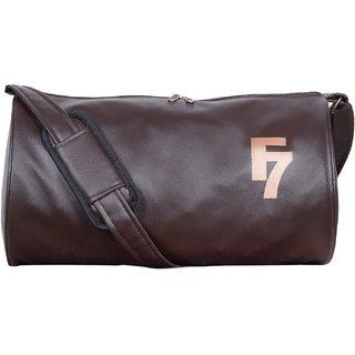 F 7 Dark Brown Leatherite Gym Bag
