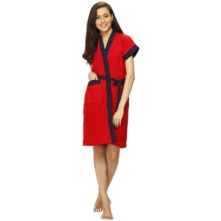 Vixenwrap Red Solid Water Absorbent Cotton Bathrobe
