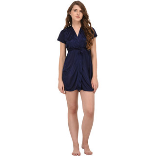 You Forever Solid Navy Short Gown
