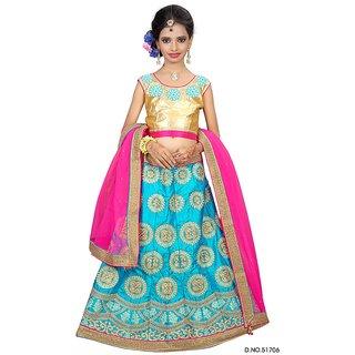 Surupta Blue Pink Color Net Designer Embroidered Party Wear Circular Lehenga Choli Of Size 36   Mohini5170636