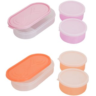 Combo 3in1 Pink - 3in1 Orange Container 4 Plastic container 2chappati tray