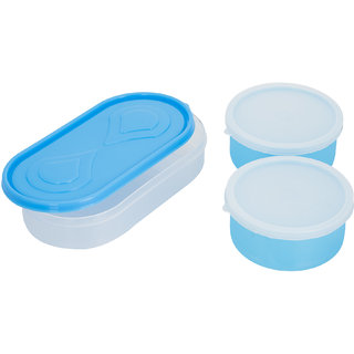 3in1 Blue Container-2 Plastic container1 chappati tray