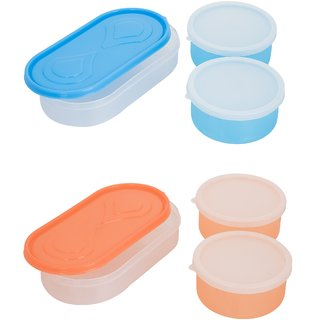 Combo 3in1 Blue-3in1 Orange Container 4 Plastic container 2chappati tray