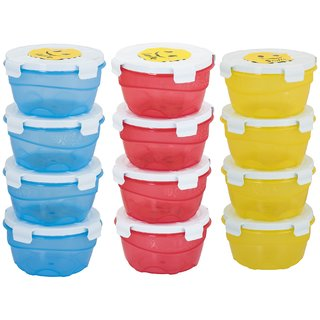 Combo Smiley  Pack of 12- 4 Blue,4 Red,Yellow Plastic Container