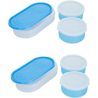 Combo 3in1 Blue Container4 Plastic container 2 chappati tray
