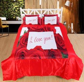 Welhouse I LOVE YOU Print Double bedsheet  2 Pillow Covers