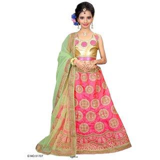 Surupta Green Pink Color Net Designer Embroidered Party Wear Circular Lehenga Choli Of Size 36   Mohini5170736