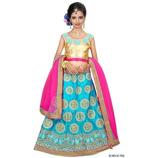 Surupta Blue Pink Color Net Designer Embroidered Party Wear Circular Lehenga Choli Of Size 28   Mohini5170628