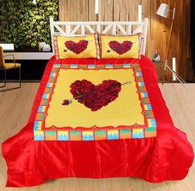 Welhouse Heart Roses Print Double bedsheet  2 Pillow Covers