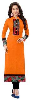 SUMMER Special Orange color indo cotton semi stiched ku