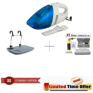 Special Combo Offer! Car Vacuum Cleaner With 41 pcs Toolkit and Car Meal Tray- CRV41PCRT