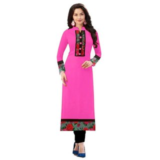 SUMMER Special Baby Pink color indo cotton semi stiched kurti by Omstar Fashion