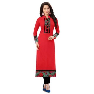 SUMMER Special Red color indo cotton semi stiched kurti by Omstar Fashion