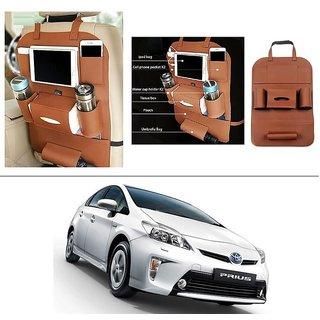 AutoStark High Quality 3D PU Leather Seat Storage Organizer Bag Beige For Toyota Prius
