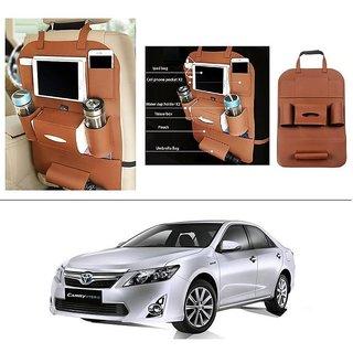 AutoStark High Quality 3D PU Leather Seat Storage Organizer Bag Beige For Toyota Camry Hybrid