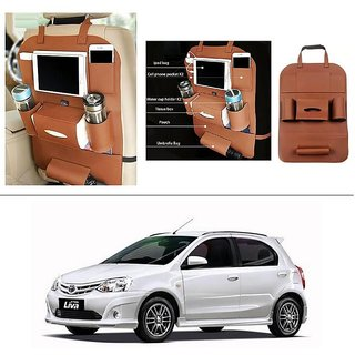 AutoStark High Quality 3D PU Leather Seat Storage Organizer Bag Beige For Toyota Etios Liva