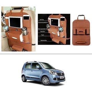 AutoStark High Quality 3D PU Leather Seat Storage Organizer Bag Beige For Maruti Suzuki Wagon R 1.0