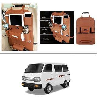 AutoStark High Quality 3D PU Leather Seat Storage Organizer Bag Beige For Maruti Suzuki Omni (Maruti Van)