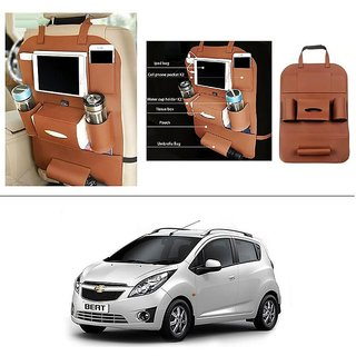 AutoStark High Quality 3D PU Leather Seat Storage Organizer Bag Beige For Chevrolet Beat
