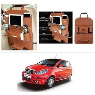 AutoStark High Quality 3D PU Leather Seat Storage Organizer Bag Beige For Tata Vista Tech