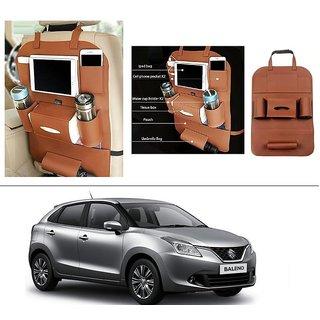 AutoStark High Quality 3D PU Leather Seat Storage Organizer Bag Beige For Maruti Suzuki New Baleno