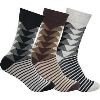 Supersox Mens Pack of 3 Regular Combed Cotton Design Socks (Combo 2)