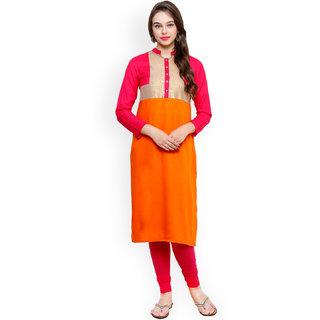 Sukuma Stylish Festival Long Kurti Pink  Orange Color