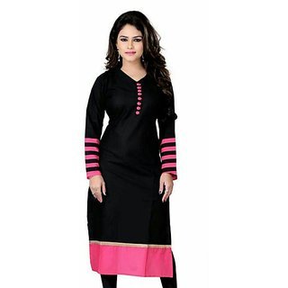 Omstar Fashion Black Cotton Semi Stitched Kurti