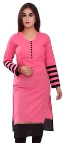Summer Special Pink color indo cotton semi stiched Printed Full Sleeves kurti by Omstar Fashion