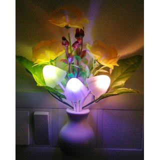 S4D DREAMS MUSHROOM LED LAMP WITH WHITE POT YELLOW ROSE ENERGY SAVING MULTI COLOR SENSOR FOR BEDROOM ROOM