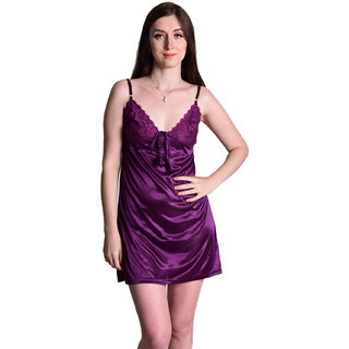 Senslife women satin solid short nighty nightwear nightdress SL014