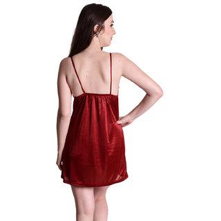c9cc4ffcd0 Buy Senslife women satin solid short nighty nightwear nightdress ...