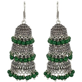 MUCH MORE Unique Silver Tone Party wear Fashion Earring With Beautiful Dropping Of Pearl Stone
